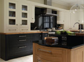 Milton Painted Kitchen Design - Shown in Alabaster, Charcoal and Oak