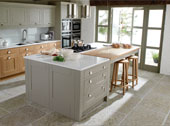 Milton Painted Kitchen Design - Shown in Suede (island) Stone and Oak (wall units)
