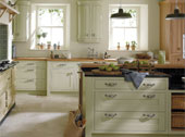 Milton painted Kitchen Design - Shown in Sage and Oak